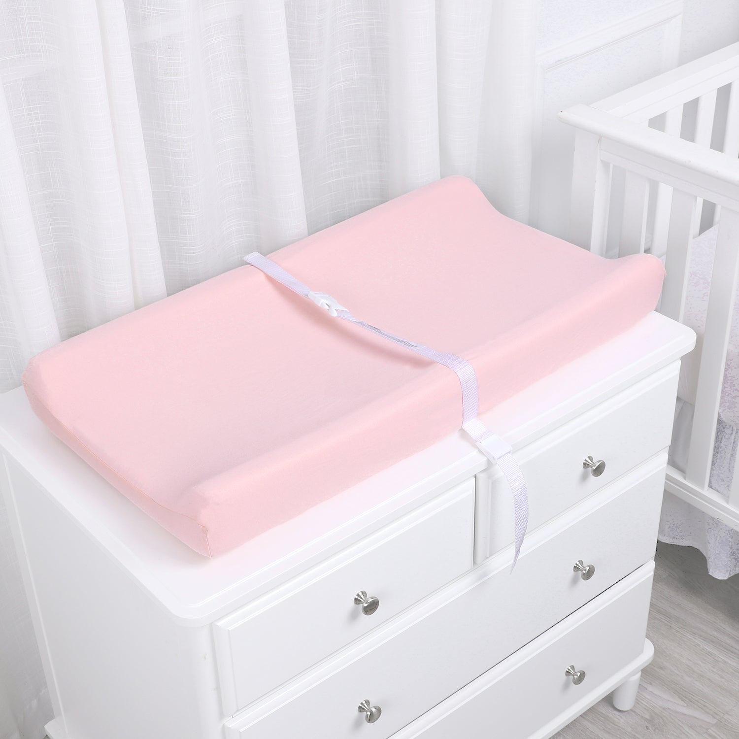 Jersey Cotton Changing Pad Cover Set - Pink Elephant&Pink