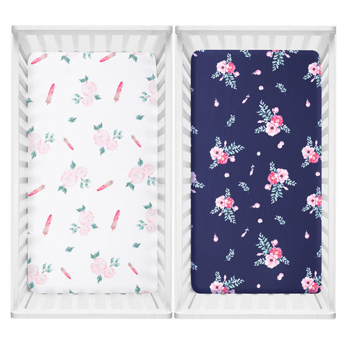 Microfiber Crib Sheet -  Navy/White Rose