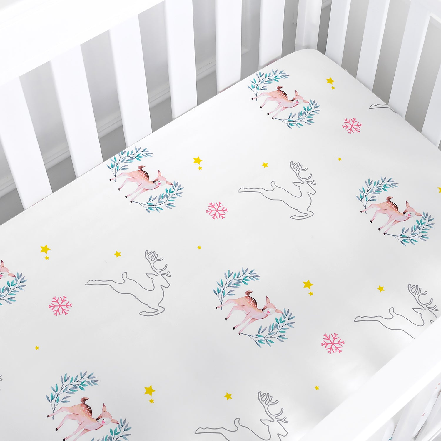 Microfiber Deer Crib Sheets Set for Boys & Girls - Mystery Reindeer