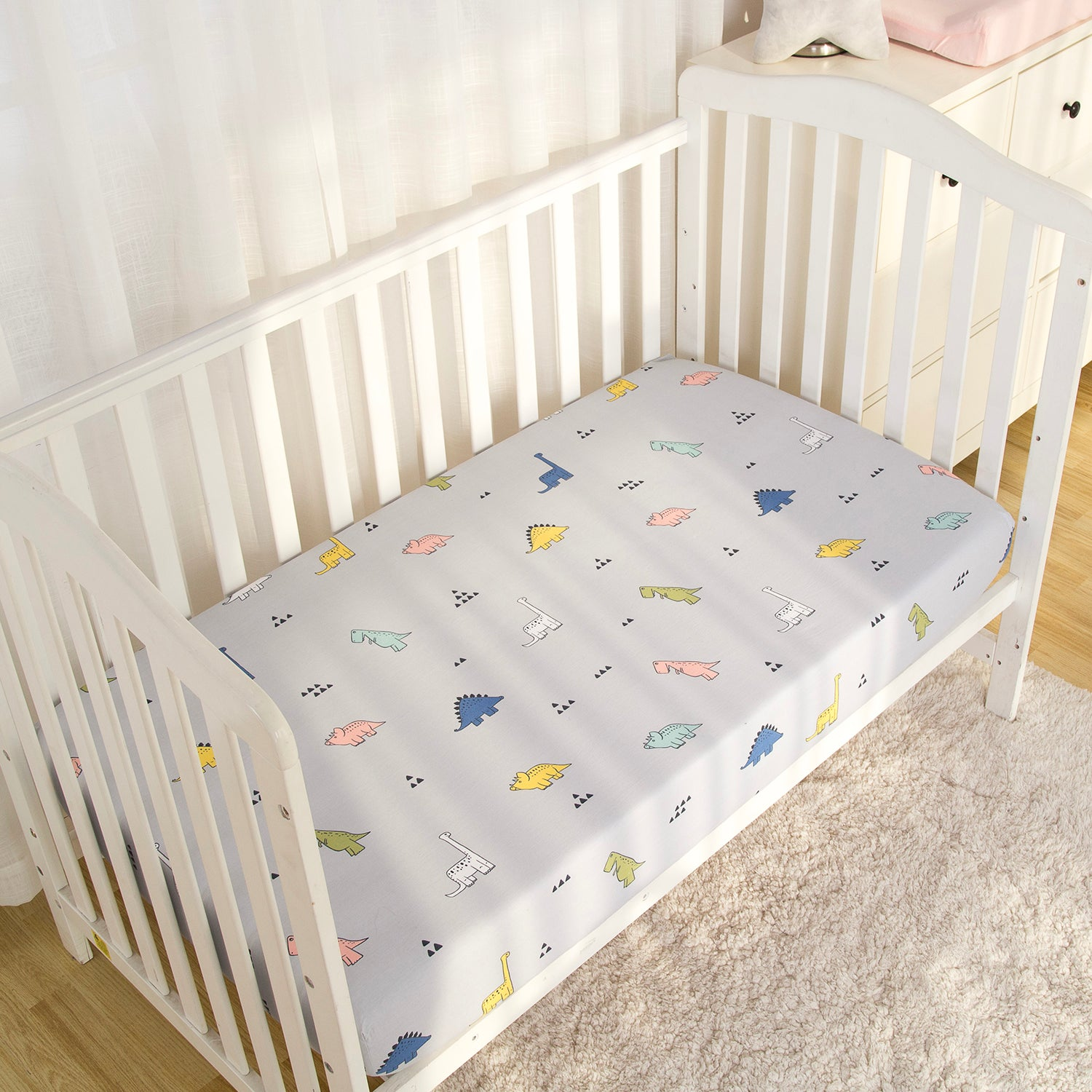 100% Cotton Crib Sheet - Dinosaurs