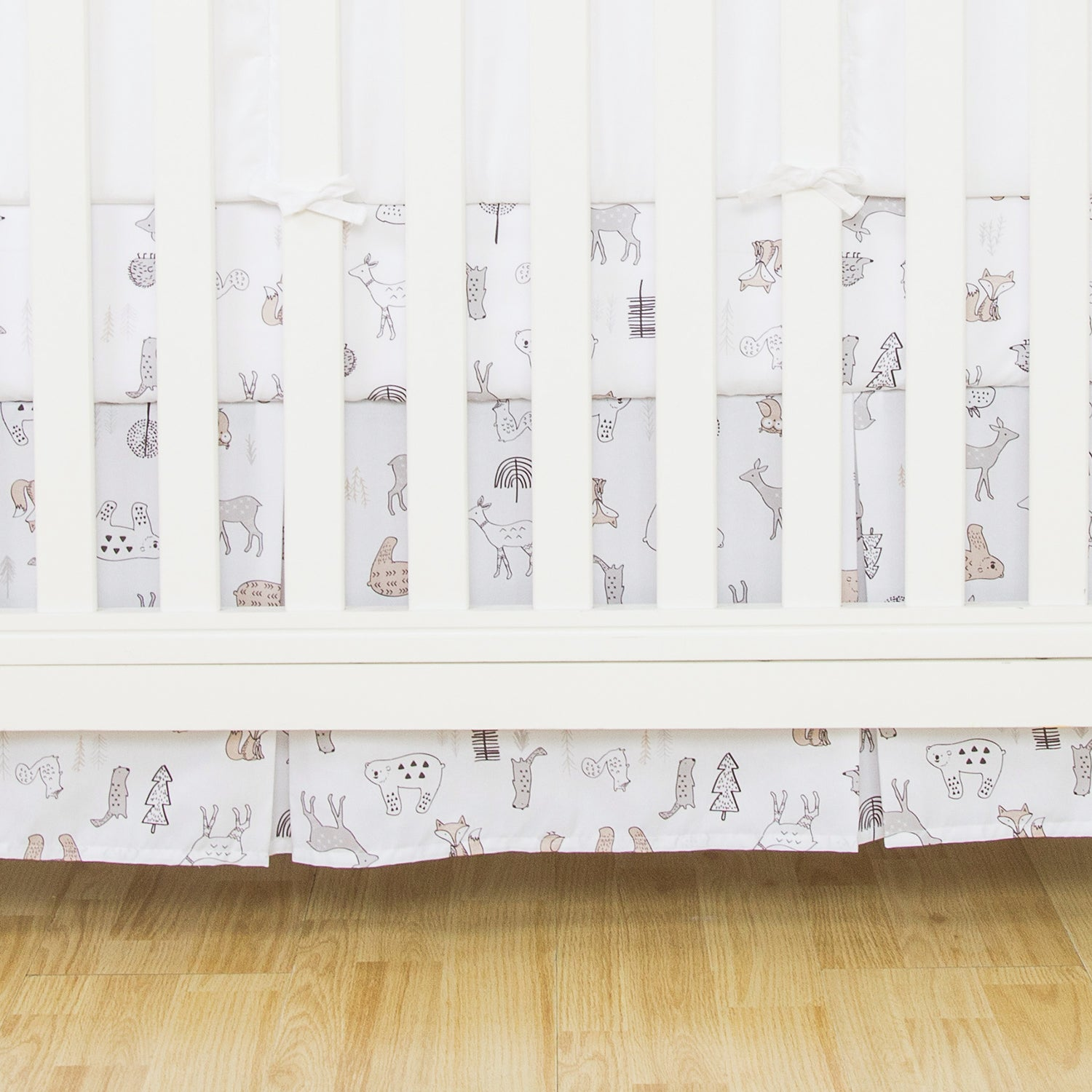 Pleated Microfiber Crib Skirt - Forest