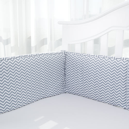 Cotton Breathable Crib Bumper Pads - Gray Chevron