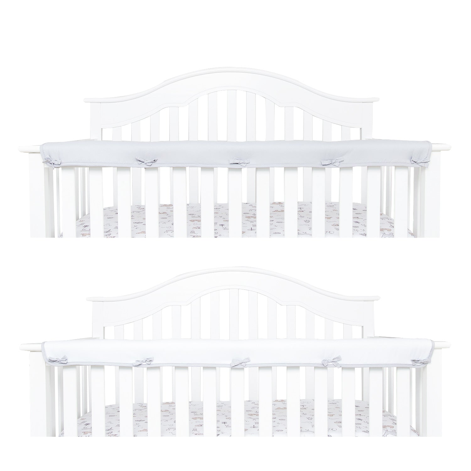Narrow Front Crib Rail Cover Protector - 3 Colors