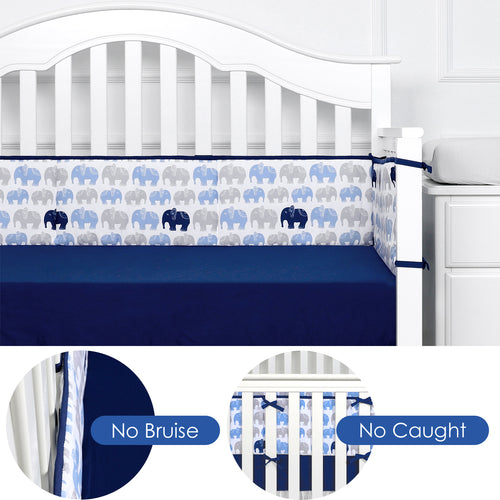 OUT OF STOCK - Microfiber Crib Bumper Pad - Navy Elephant