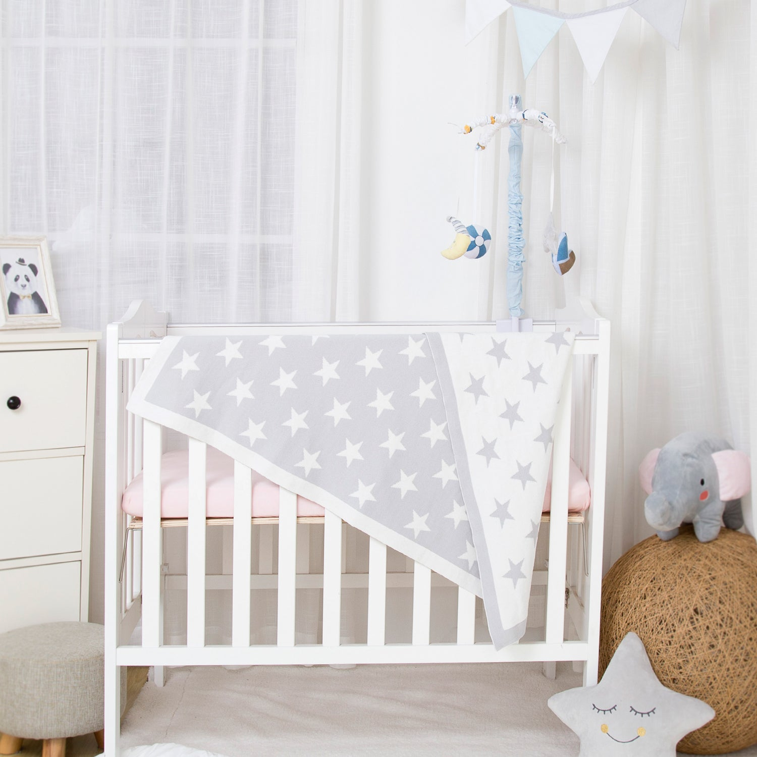 OUT OF STOCK - 100% Cotton Sweater Knit Baby Blanket - Stars