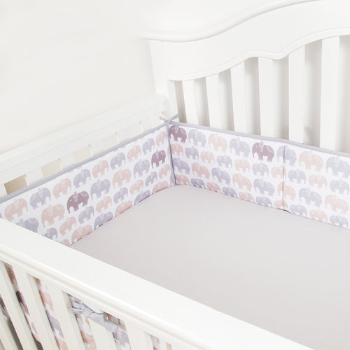OUT OF STOCK - Microfiber Crib Bumper Pads - Gray Elephant