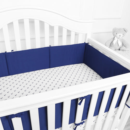 1-Piece Cotton Breathable Mini Crib Bumper - Navy