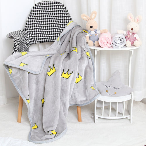 All-Season Flannel Fleece Baby Blanket - Crown
