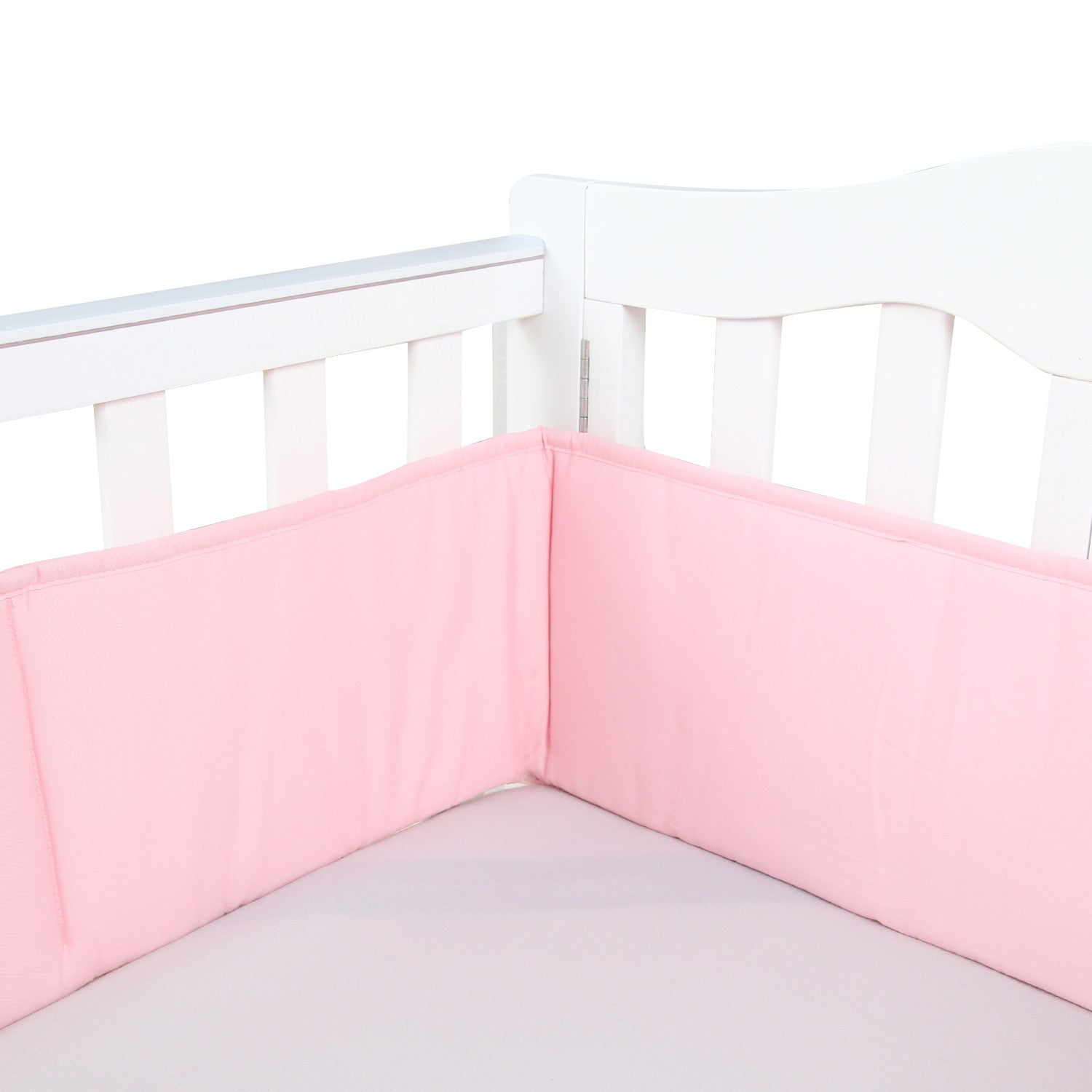 1-Piece Cotton Breathable Mini Crib Bumper - Pink