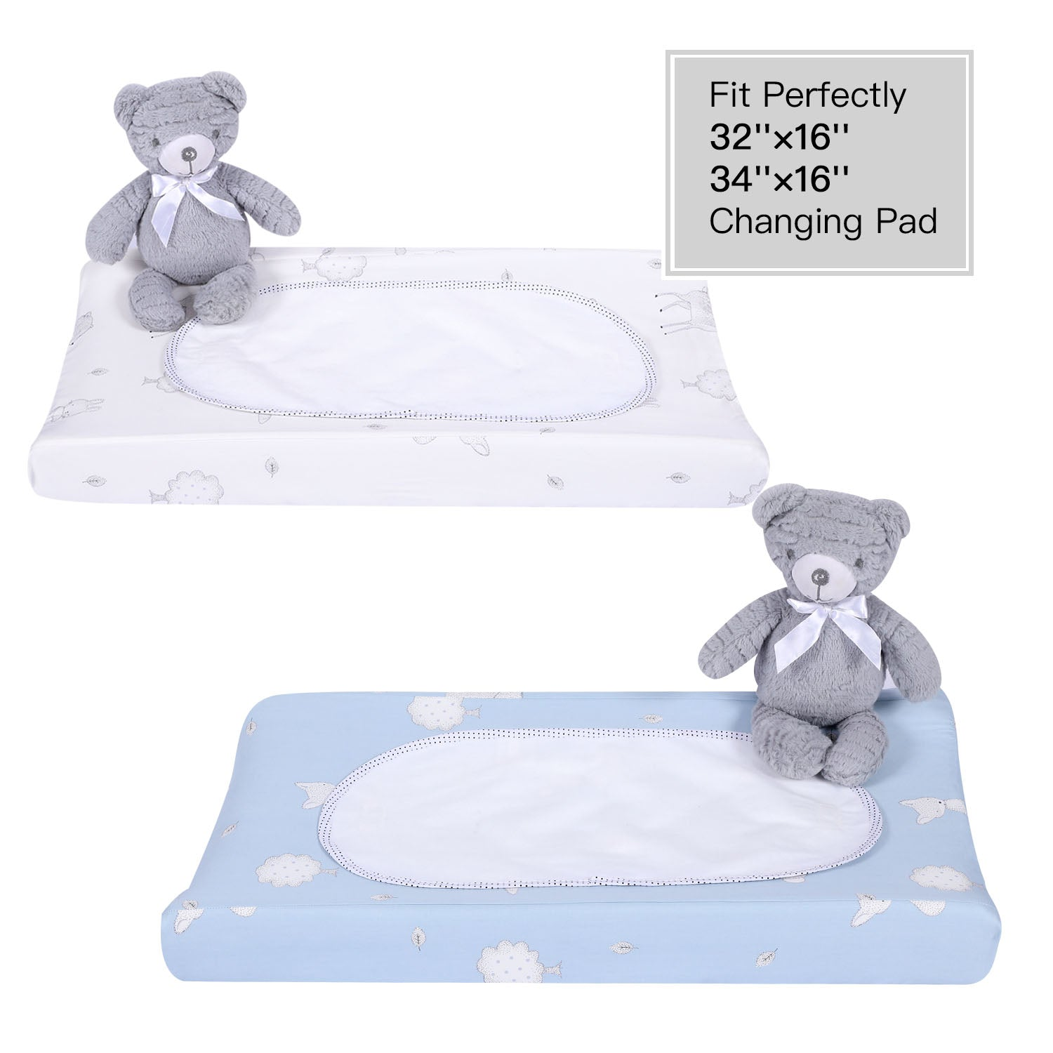 Bamboo Cotton Changing Pad Cover Set - Blue & White
