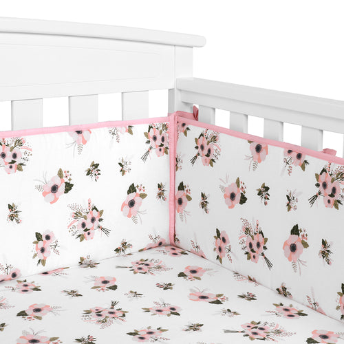 OUT OF STOCK - Cotton Crib Bumper Pads - Floral Flowers