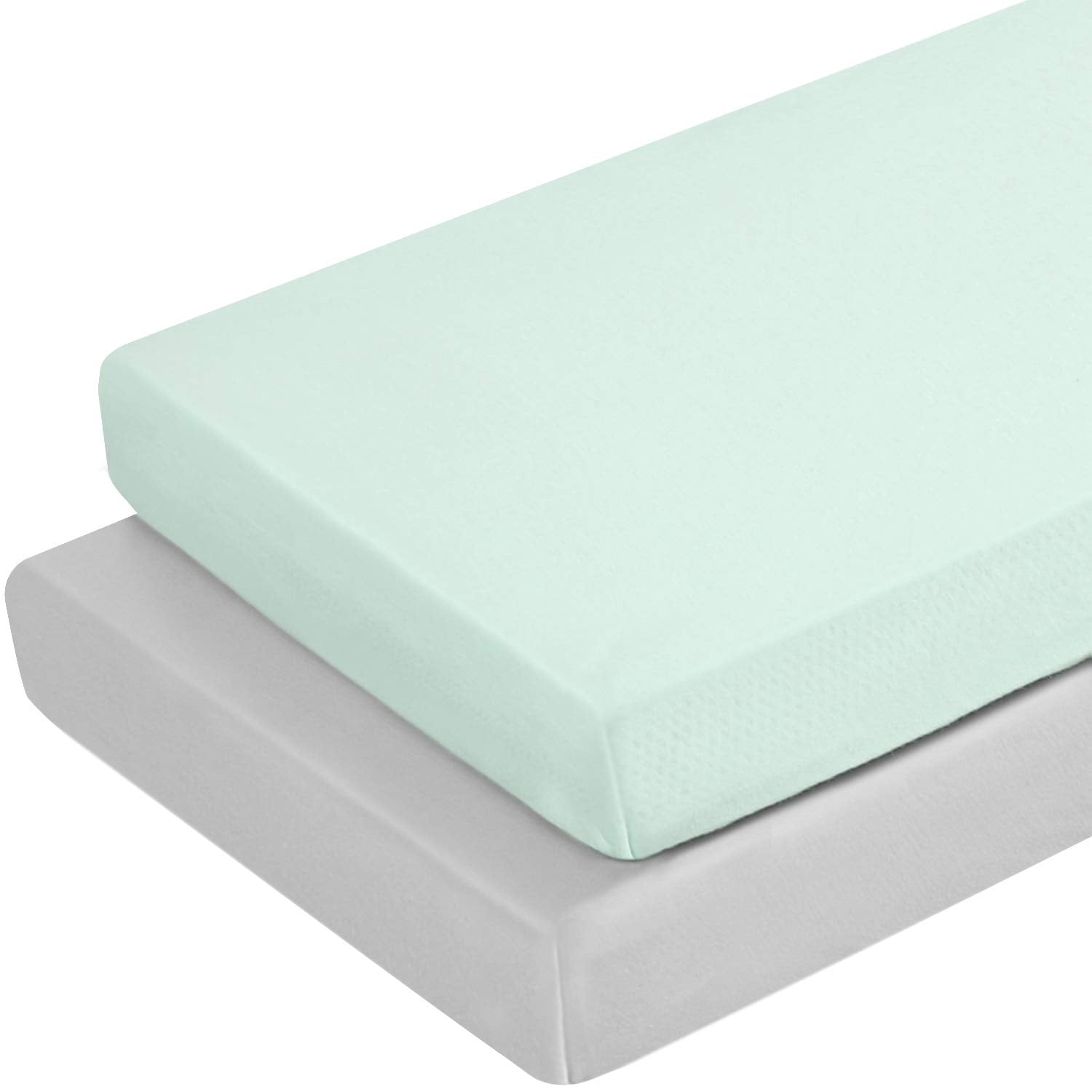 2 Piece - Jersey Knit Mini Portable Crib Sheets,Light Green & Light Gray