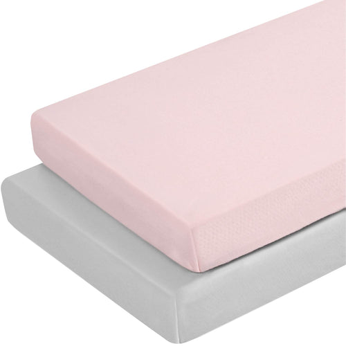 2 Pack - Jersey Knit Pack N Play Sheets Fitted Peachy Pink & Lt Gray