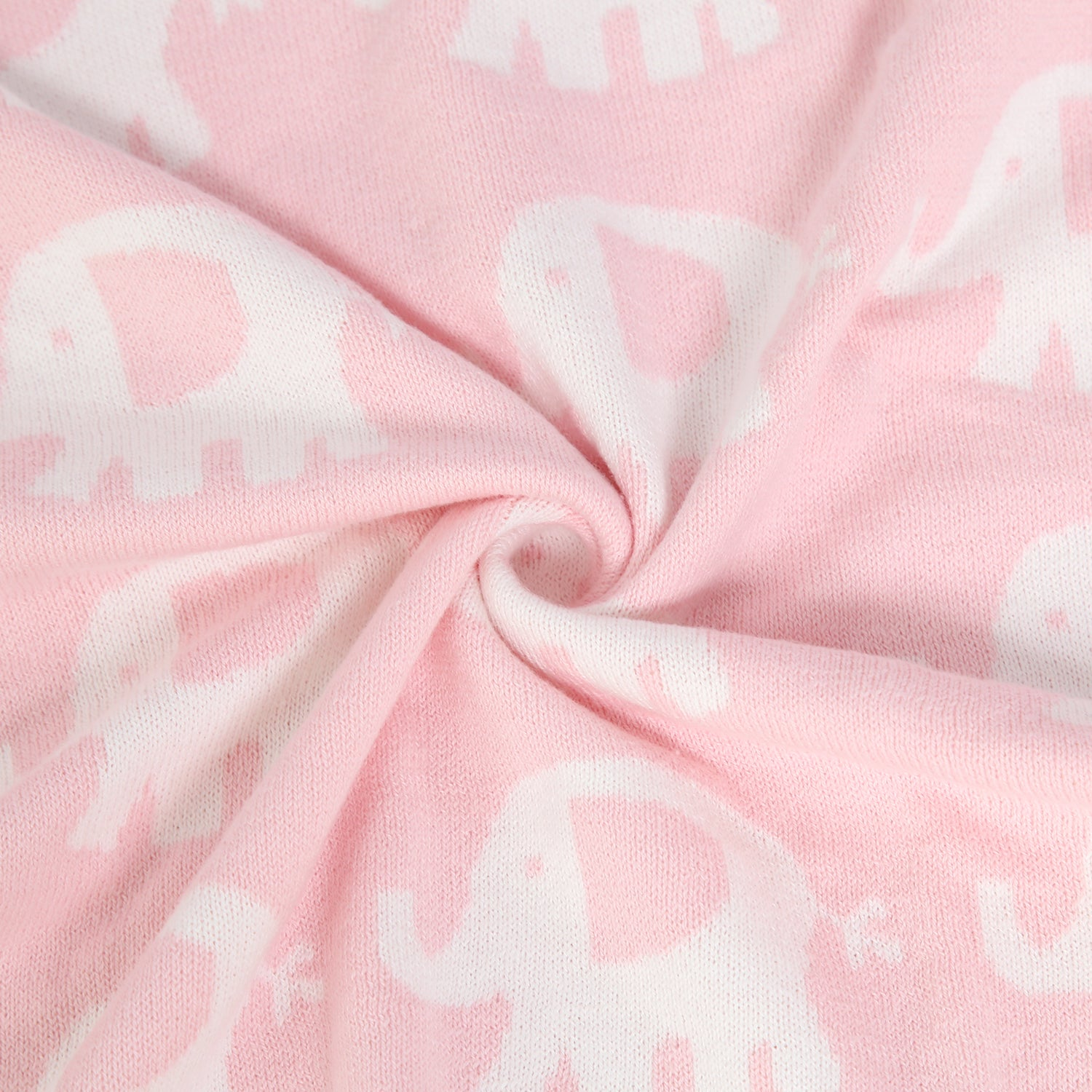 100% Cotton Sweater Knit Baby Blanket - Elephant