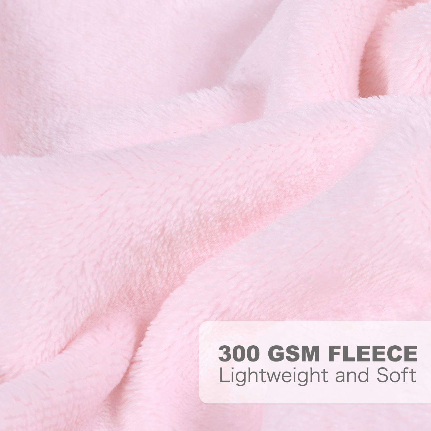 "Micro Fleece Plush Baby Blanket Large Lightweight Crib Blanket 39"" x 47""  Lt Pink"