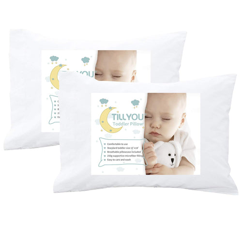 "Ergonomic Toddler Pillows with Pillowcases Set of 2 - 13X18"" Travel Size"