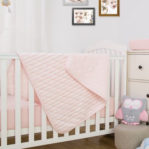 Striped Allergy-Free Quilted Baby Blanket - Pink