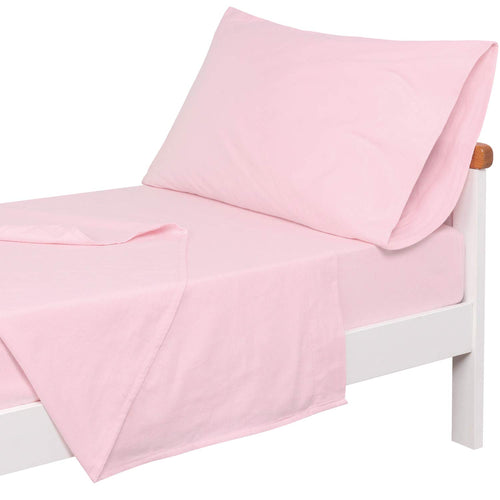 3-Piece Cotton Flannel Toddler Sheet Set (Fitted Sheet, Top Flat Sheet and Envelope Pillowcase)