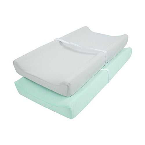 Jersey Knit Changing Pad Covers 2 PK - Light Green & Light Gray