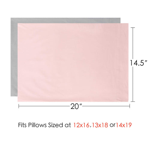2 Piece - Cotton Collection Breathable Toddler Pillowcases 14x20 - Fits Pillows Sized 12x16 13x18 or 14x19, Envelope Closure