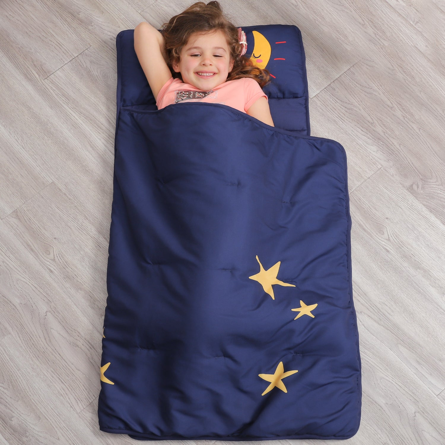 Toddler Nap Mat with Pillow for Kids - Navy Moon And Star