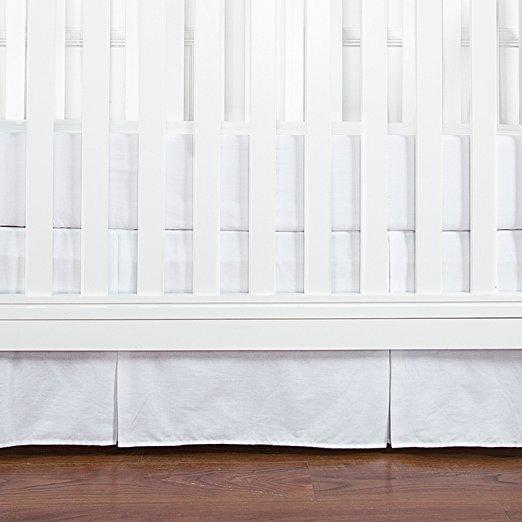 Solid Color Cotton Pleated Crib Bed Skirt - 4 Colors