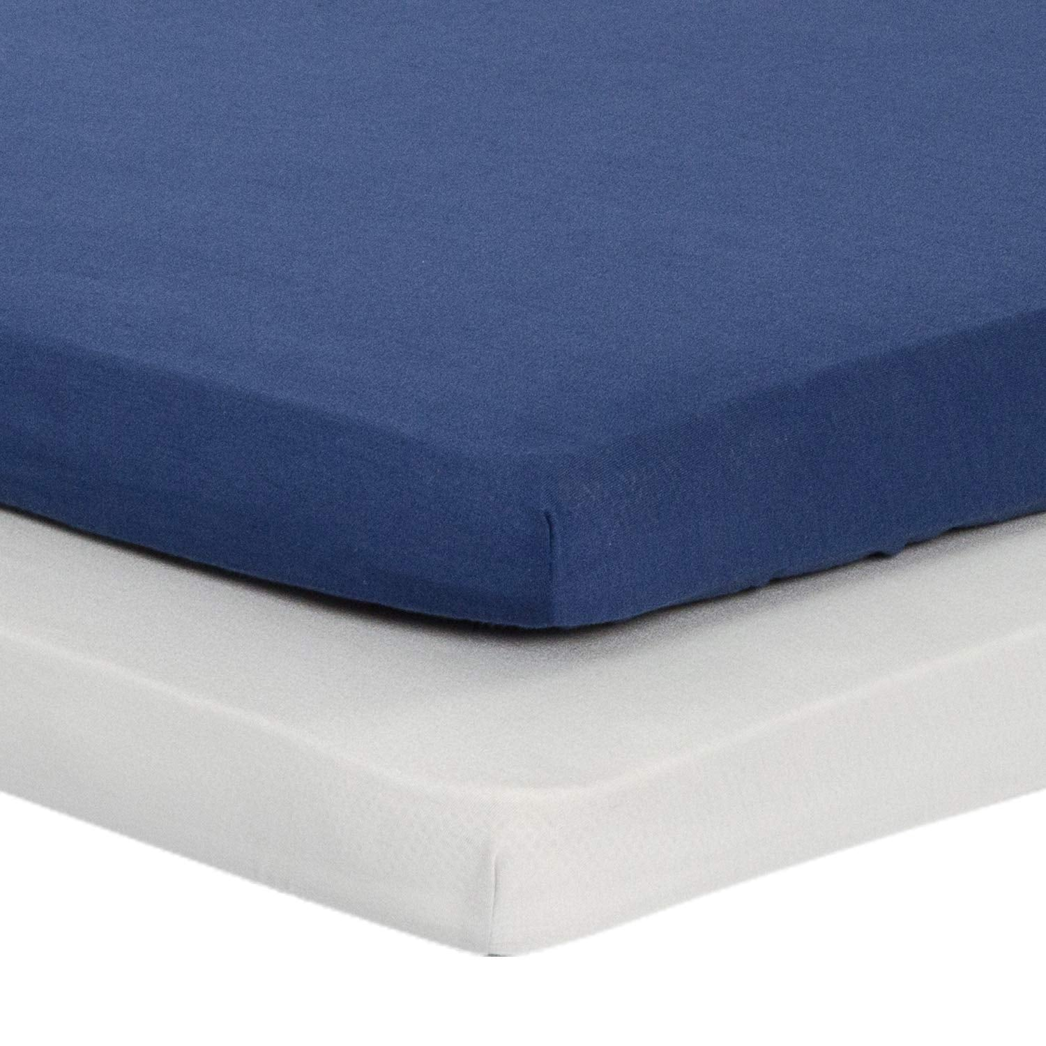 2 Piece - Jersey Knit Pack N Play Sheets Fitted Navy Blue & Lt Gray