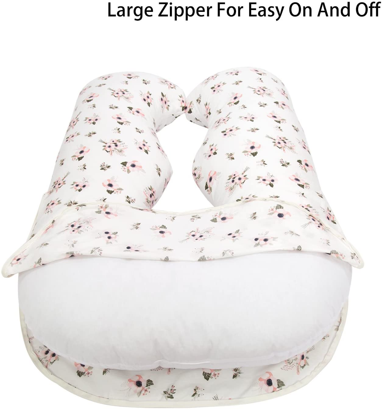 "Large Zipper Personalized Pregnancy Pillowcase, 100% Egyptian Cotton Fit 55"" x 31"" U Shaped Pillow"