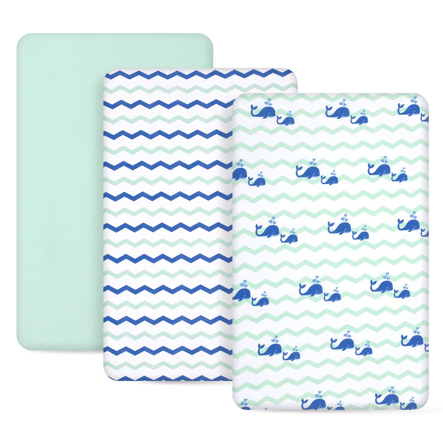 3 Piece - Mini Crib Jersey Knit Pack N Play Sheets Ocean Theme