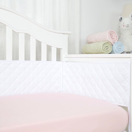 Microfiber Crib Bumper Quilted Pad - White