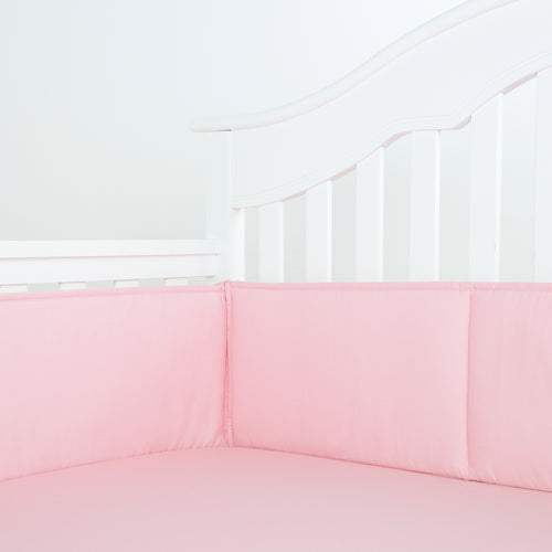 Cotton Breathable Crib Bumper Pads - Light Pink
