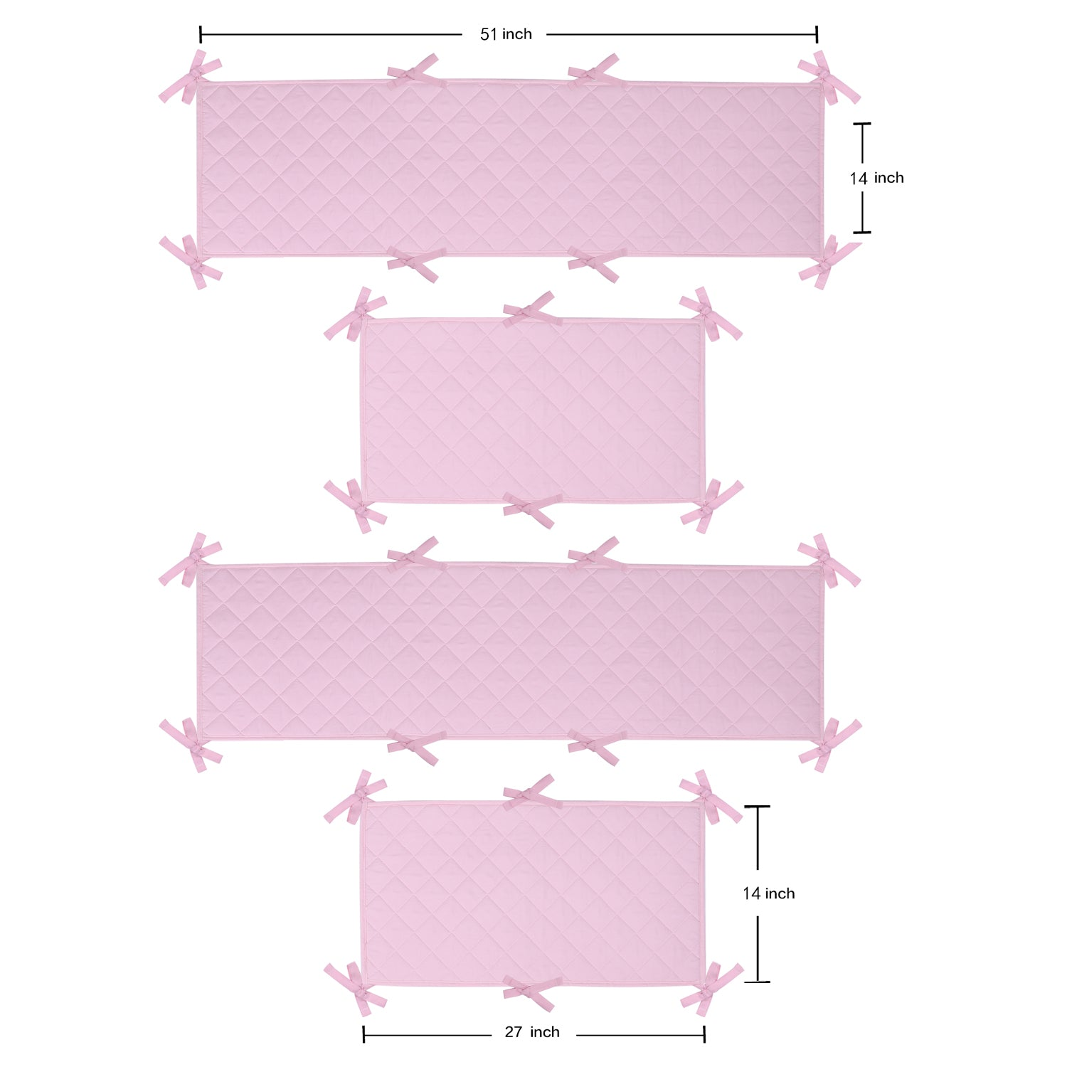OUT OF STOCK - Microfiber Crib Bumper Quilted Pad - Pink