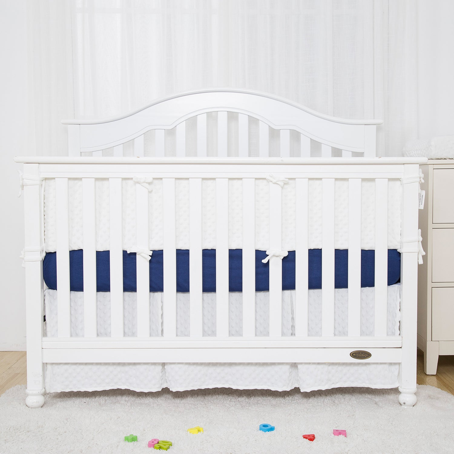 White Pleated Minky Dot Crib Skirt