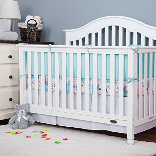 Cotton Crib Bumper Pads - Aqua Blue