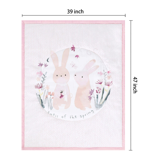 5 Pieces Floral Crib Bedding Set (Crib Bumper, Quilt, 2pcs Crib Sheets, Crib Skirt) - Floral & Bunny