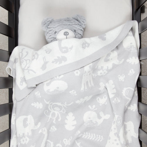 100% Cotton Sweater Knit Baby Blanket - Animals