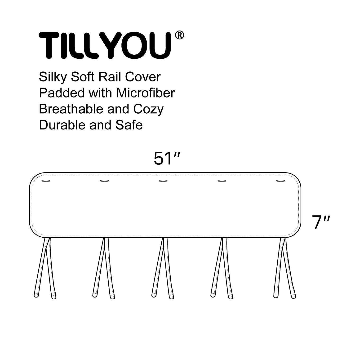 Narrow Front Crib Rail Cover Protector - 4 Colors