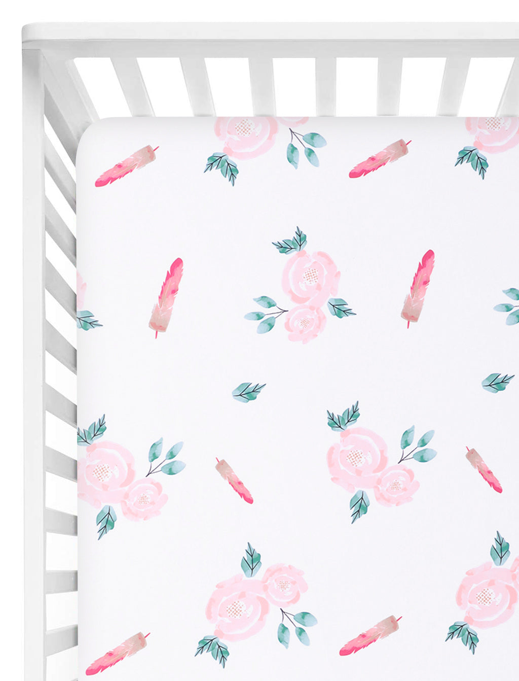 Microfiber Floral Crib Sheet - Rose Feather