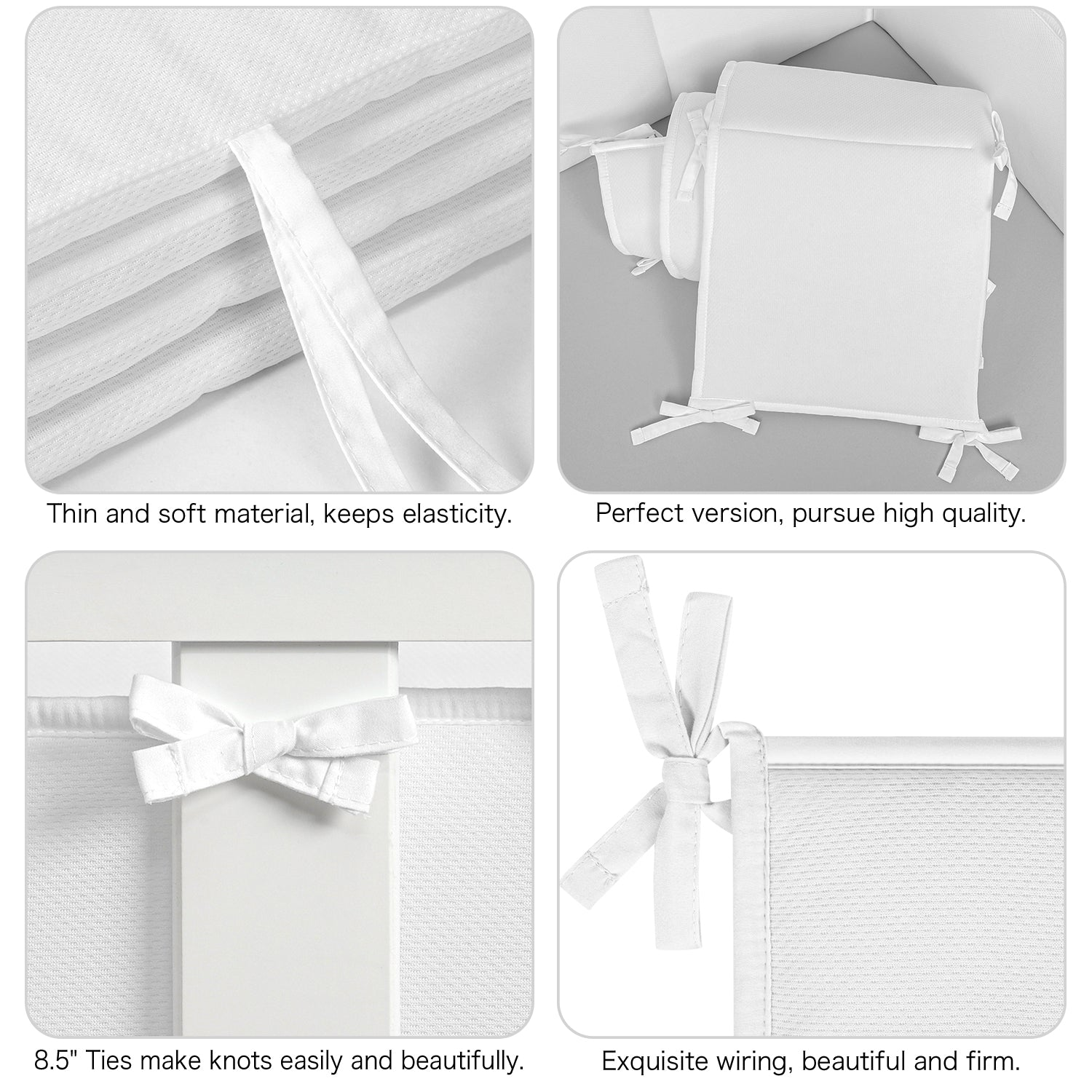 Baby Crib Bumper Pads Breathable 4-Pieces - White