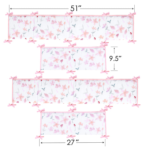 OUT OF STOCK - Microfiber Crib Bumper Pad - Floral Multi Flowers
