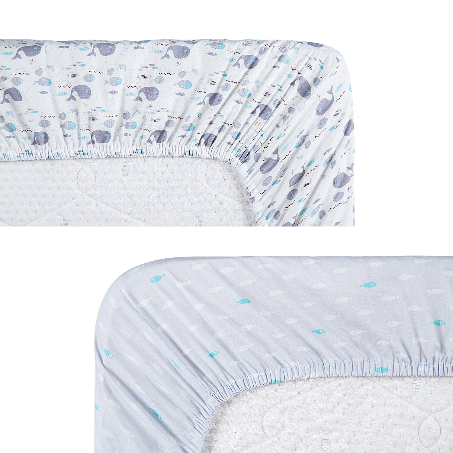 100% Cotton Crib Sheets 2PK - Sea Word (Gray) & Fish (Blue)