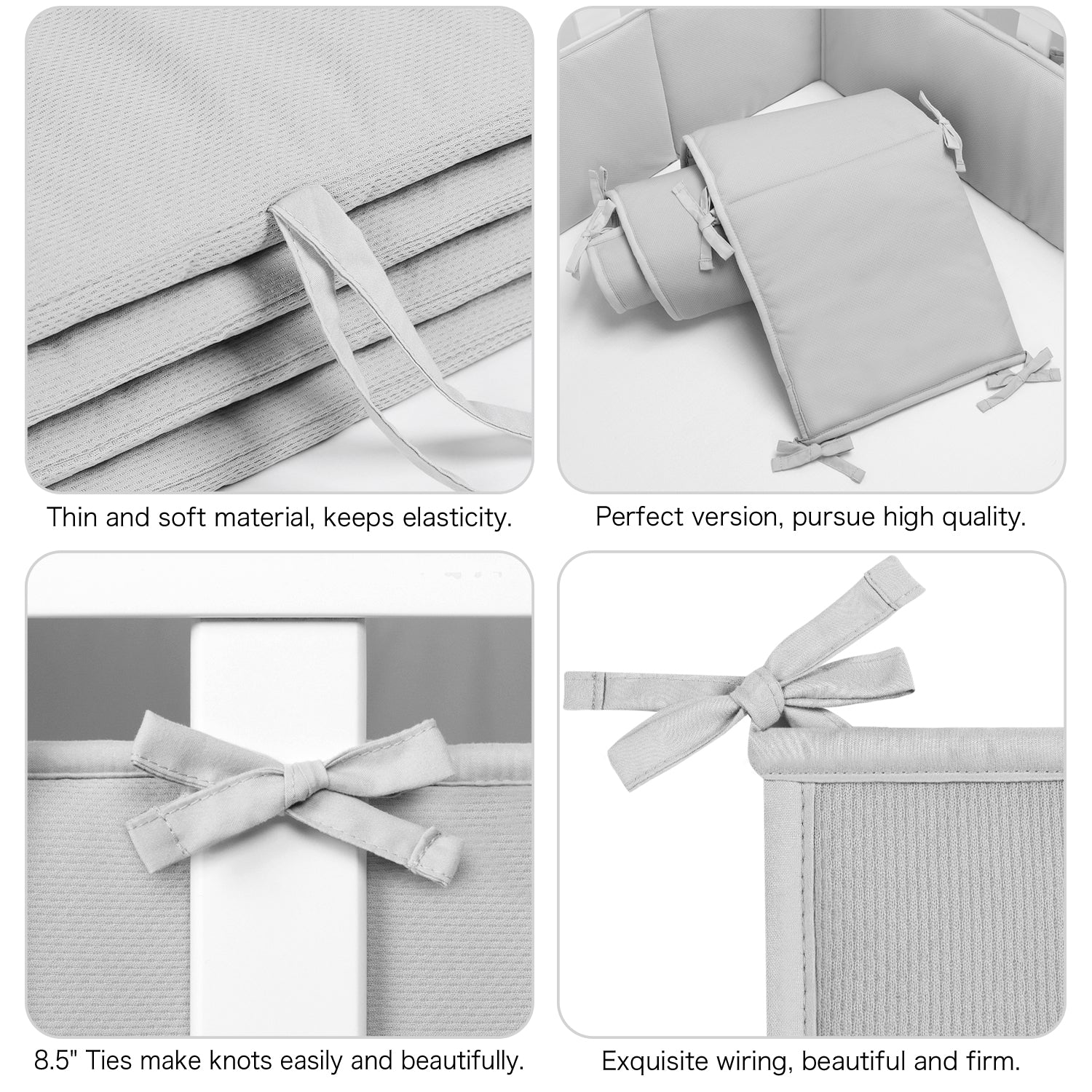 OUT OF STOCK - Baby Crib Bumper Pads Breathable 4-Pieces - Gray