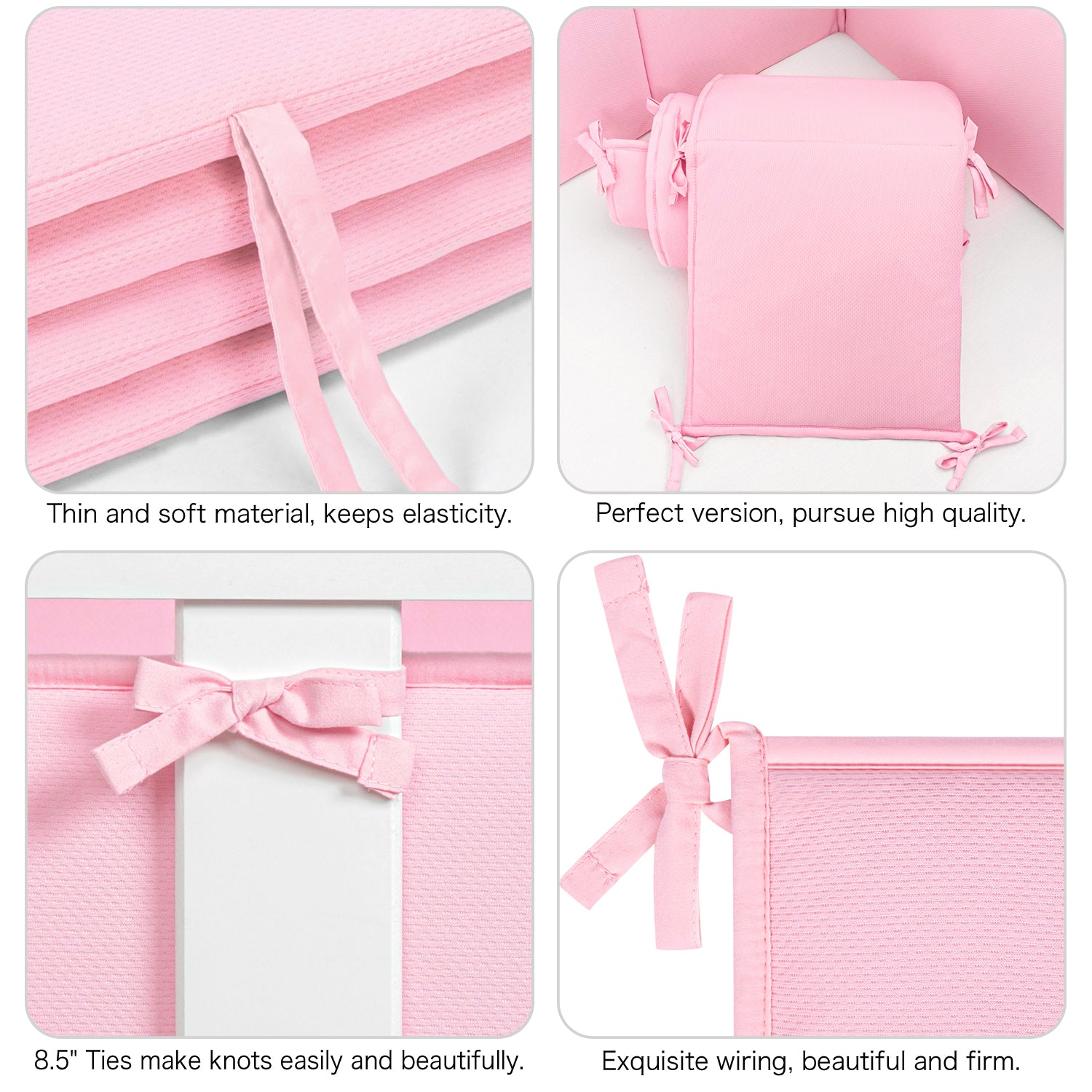 Baby Crib Bumper Pads Breathable 4-Pieces - Pink