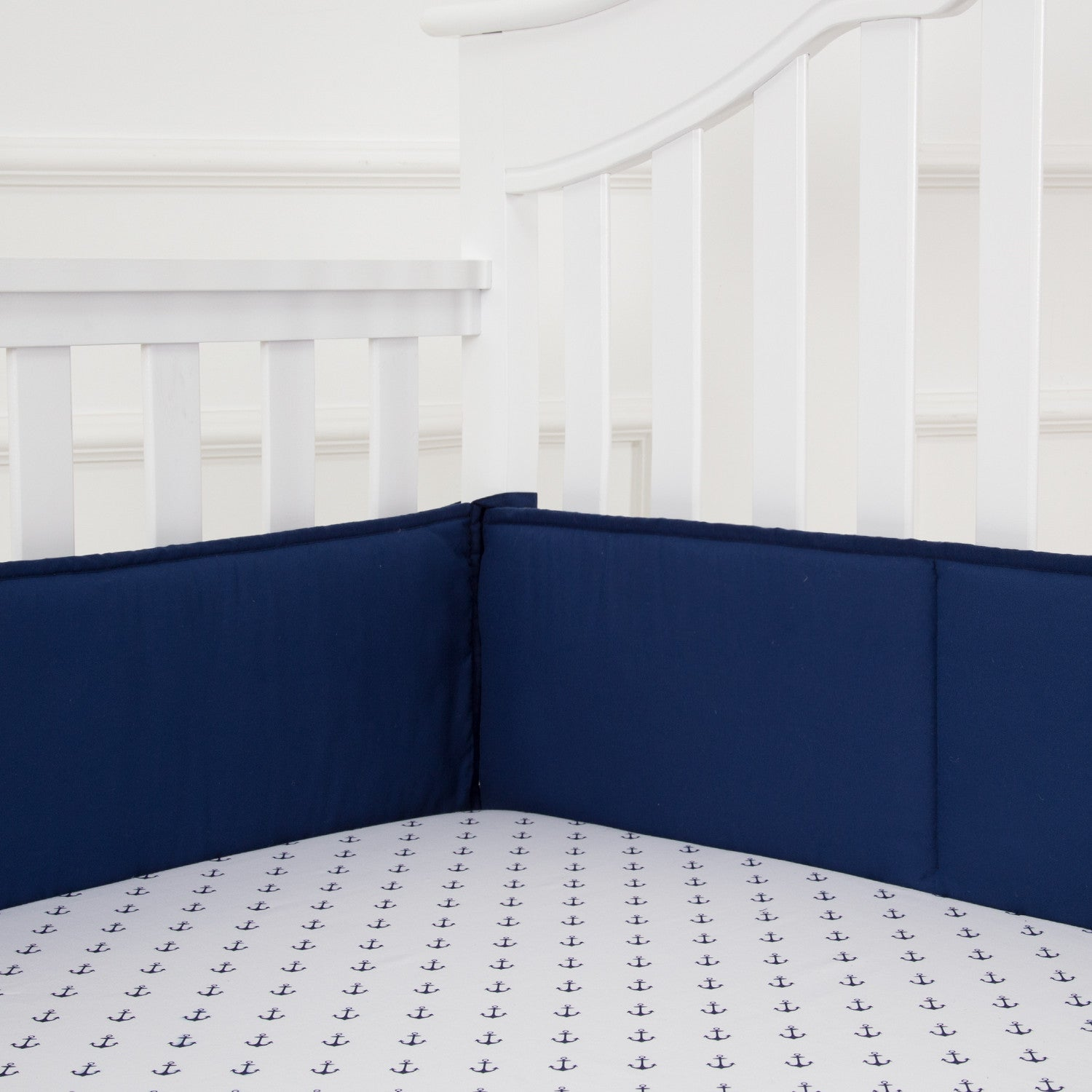 OUT OF STOCK - Microfiber Crib Bumper Pads - Navy