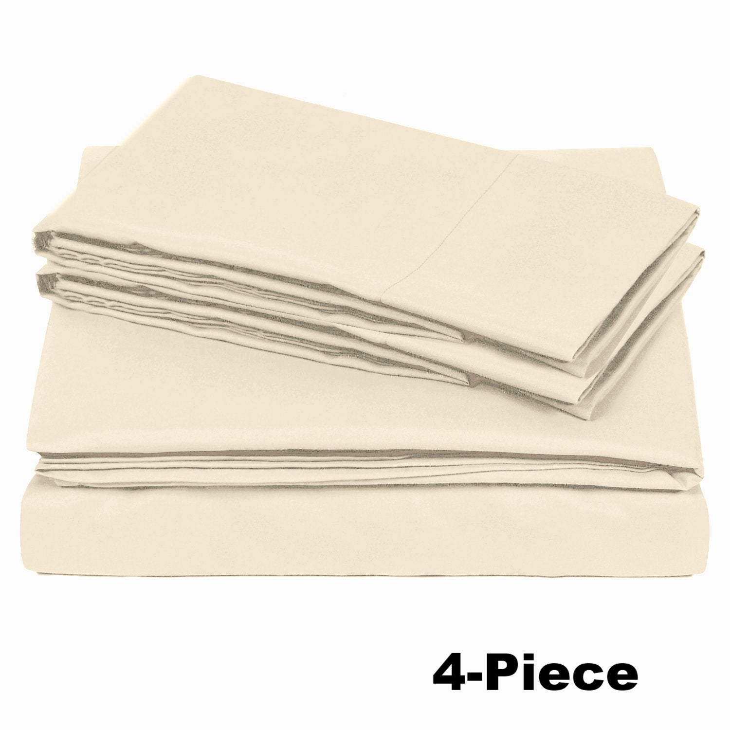 Soft Microfiber Twin Bed Sheets 3-Piece Set - Beige