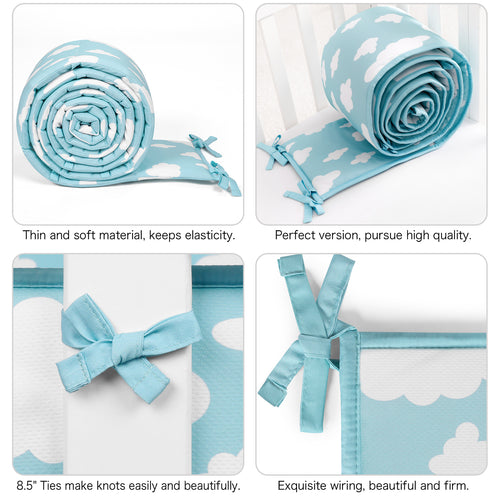 Baby Mini Crib Bumper Pads Breathable 1-Piece - Cloud