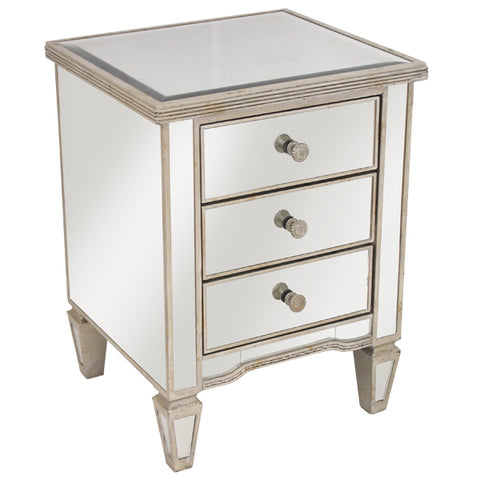 FURNITURE- MIRRORED BEDSIDE ANTIQUED RIBBED