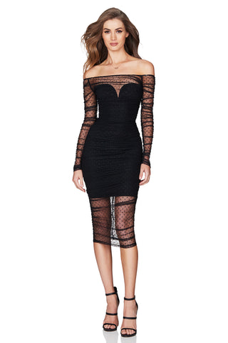 NOOKIE- Monaco Midi Dress-Black