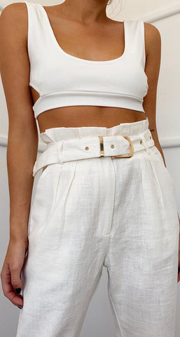 RUNAWAY- Kira Crop Top- White