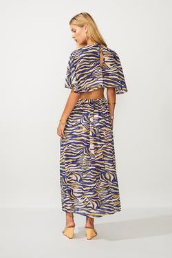 SUBOO- Into the Wilds Cape Dress- Zebra print